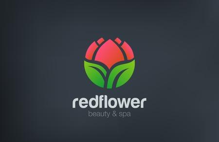 추상 꽃 로고 원 모양 디자인 벡터 템플릿입니다. 뷰티 스파 화장품 로고 개념입니다. 정원 꽃이 게 아이콘입니다.