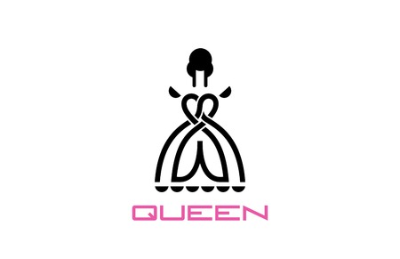 Queen Logo conceptuele Lineart style design vector template. Beauty Fashion Logotype icoon.
