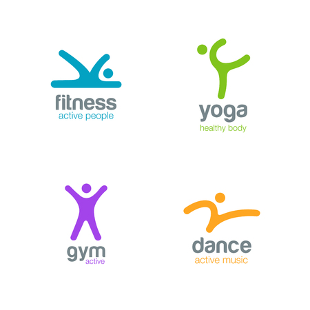 Fitness Dance Yoga Gym Logos design vector templates.  Active sports colorfull creative simple logotype icons. Illusztráció