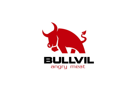 Red Bull Logo design vector template. Angry Bull with devils tail.  Funny Creative symbol concept. Beef Farm Logotype idea. 向量圖像