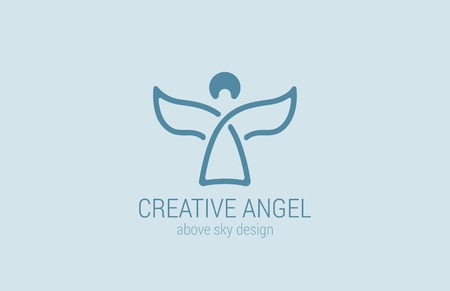 prodigy: Angel Logo design vector template. Church Logotype concept icon.  Man abstract with Wings lineart style. Creative idea.