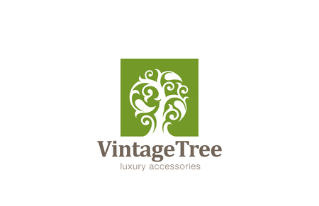 빈티지 나무 로고 디자인 벡터 템플릿입니다. 큰 잎 로고와 마법의 공장. 화장품, 보석, 고급 개념 아이콘입니다.