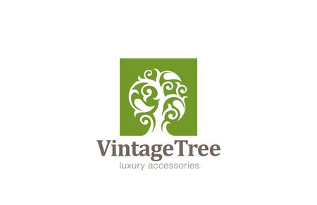 Vintage Boom Logo ontwerp vector template. Magic Plant met grote bladeren logo. Cosmetica, sieraden, luxe concept pictogram.