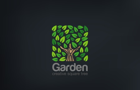 Abstract Green Tree Logo Square shape design vector template.   Green Farm Garden Logotype icon. Eco concept. Ilustração