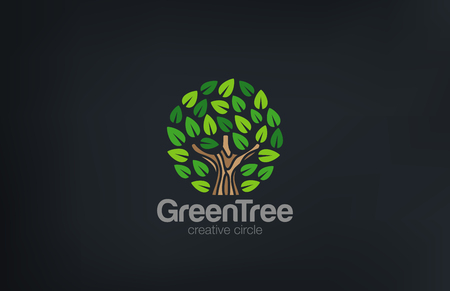 circle life: Abstract Green Tree Circle shape design vector. Green Farm Garden Logotype icon. Eco concept.