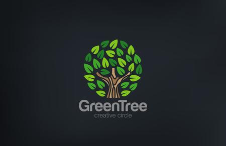 vida natural: Resumen Green Tree Circle vector diseño de la forma. Icono Green Farm Jardín de logo. Concepto de Eco.