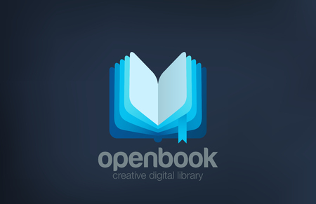 digital library: Open Book Logo design vector template abstract. Digital Library Logotype concept icon. Illustration