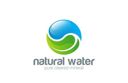 Water drop Leaf Logo design vector template. Yin Yang concept.  Ecology green pure natural aqua logotype. Clear eco water icon.
