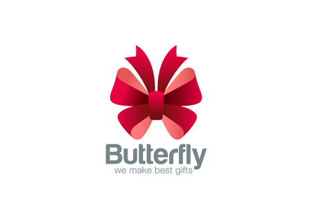 ceremonies: Gift Bow as Butterfly Logo design vector template icon. Use as Logotype for event, gift packing, fashion, wedding and other ceremonies.