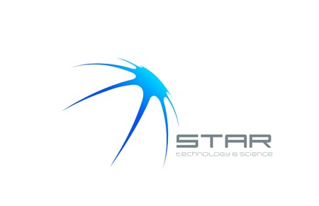 Abstract Star logo design vector template. Satellite icon.  Futuristic Technology Science Logotype concept. Comet illustration.