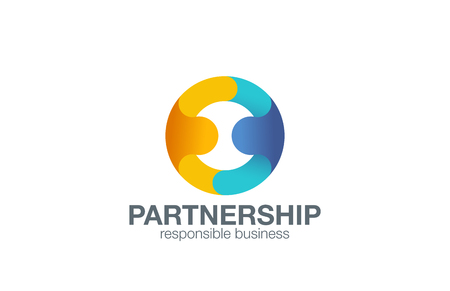 Partnership Logo design vector template with abstract characters. People holding hands in circle Friendship, Partnership, Cooperation, Team work logotype concept icon. Vettoriali