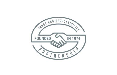 핸드 셰이크 로고 디자인 벡터 템플릿 라인 아트 스타일. 협력, 신뢰, 협력, 우정 로고 아이콘입니다.