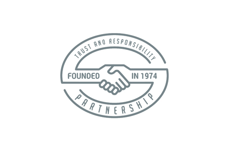 logo handshake: Handshake Logo design vector template lineart style.  Partnership, trust, cooperation, friendship logotype icon. Illustration