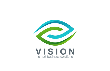 green eye: Eye Logo abstract design vector template.  Business Technology vision logotype icon. Clinic concept.