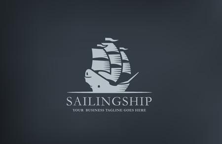 barche: Barca a vela d'epoca astratto Modello di marchio disegno vettoriale. Nave stile retrò mezza età Logotype Vela.