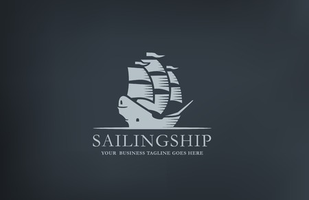vessel: Vintage Sailboat abstract Logo design vector template.  Retro style ship middle age Sailing Logotype.
