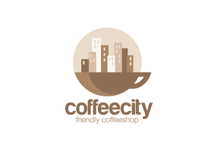 Coffeehouse Logo design circle vector template. Cityscape on Sunrise over cup of coffee concept logotype idea. Vettoriali