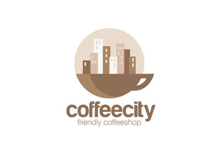 Coffeehouse Logo design circle vector template. Cityscape on Sunrise over cup of coffee concept logotype idea. Vectores