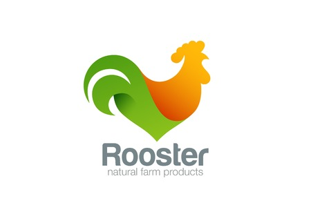 Rooster Logo Farm design vector template.  Cock chicken Eco natural fresh products concept Logotype icon.