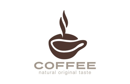 Coffee cup Logo cafe bar with steam design vector template. Natural Pure Original True Coffee bean Logotype concept.