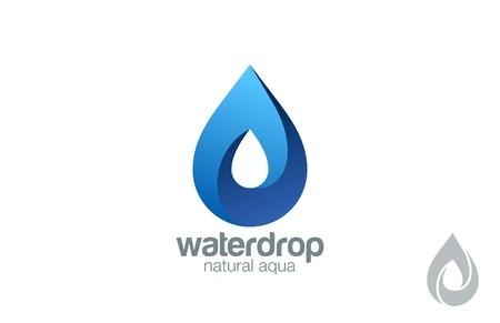 Logo Water drop abstract design vector template. Waterdrop Logotype. Infinity loop Aqua concept. Infinite looped shape droplet icon.