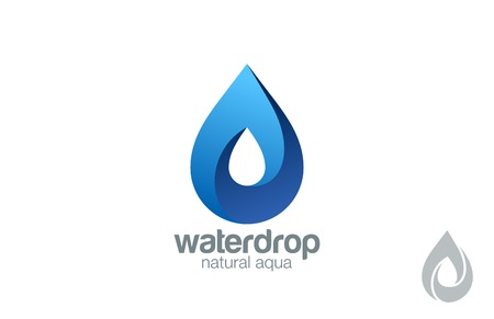 Logo Water drop abstract design vector template. Waterdrop Logotype.  Infinity loop Aqua concept. Infinite looped shape droplet icon.