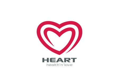 Logo Heart abstract shape vector design template. Two hearts Logotype.