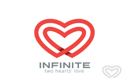 looped: Double Looped Infinity Hearts Logo design vector template.  Logotype Couple in Love Valentine Day concept icon. Illustration