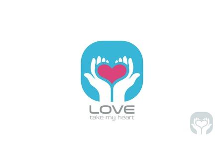 Handen houden van Hart Logo design vector template. Neem mijn Hart Logotype. Valentijn dag liefde concept pictogram.