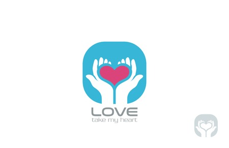 Hands holding Heart Logo design vector template. Take my Heart Logotype. Valentine day Love concept icon.