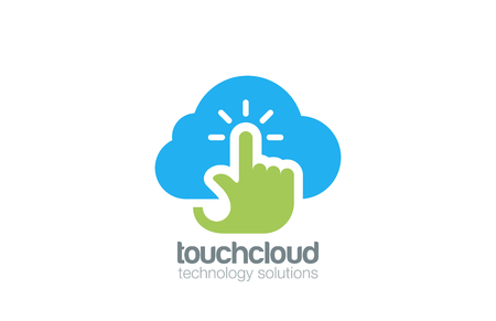 internet logo: Hand Touch Cloud computing Logo design vector template.  Digital Web Technology Storage Logotype concept icon.
