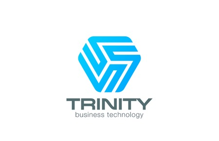 trinity: Line art Logo triangle abstract design vector template.  Business Technology Logotype concept icon.