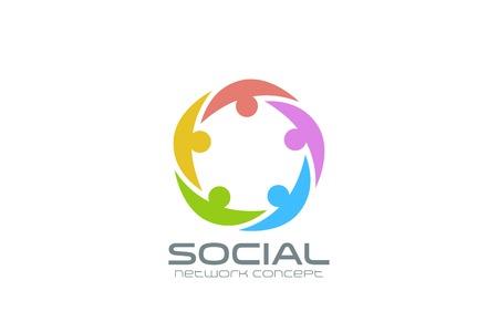 obra social: Red Social plantilla de diseño del logotipo de vector. Icono del círculo del equipo. El trabajo en equipo de la comunidad de amistad logotipo idea creativa. Vectores