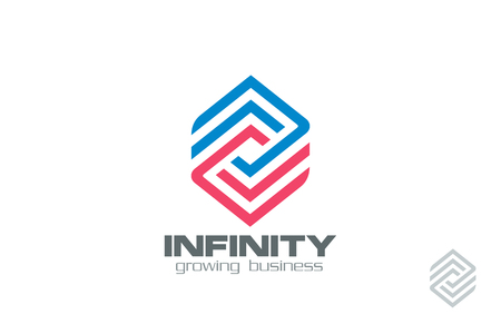 business finance: Logo Design abstract infinity loop Financial Business Technology vector template.  Logotype for Finance, Construction, Real Estate etc.   Creative Rhombus infinite line art looped shape. Editable.