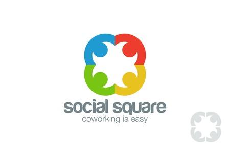manos logo: Logo plantilla de diseño vectorial Social. La gente de la mano de logo. Coworking idea de red. Comunidad El trabajo en equipo, el concepto de la amistad. Vectores