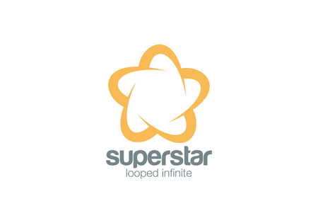 Logo Abstract Star Five point infinity loop vector design template.