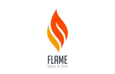 Fire flame Logo design luxury vector template.  Red Burn Fashion Jewelry Logotype icon concept. Иллюстрация