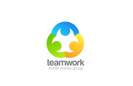 Social Logo ontwerp vector template. Teamwork logo. Familie concept pictogram. Vriendschap, Partnership, Community idee. Stock Illustratie
