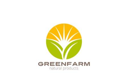 eco logo: Sun over Abstract Plant Logo Farm design vector template circle shape.  Natural Organic Fresh products Logotype concept icon.