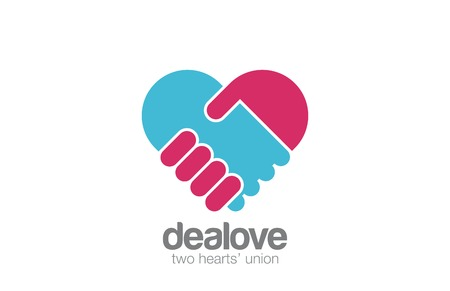 Logo Handshake Heart shape design vector template. Hand Holding Hand Help logotype icon. Medicine Healthcare Cardiology concept.