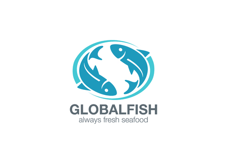 Fish Logo design vector template. Infinity Fishing concept. Seafood restaurant marketplace logotype icon.