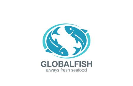 logo poisson: Poissons Logo template vecteur de conception. Infinity Pêche concept. Restaurant de poissons marché logotype de l'icône.