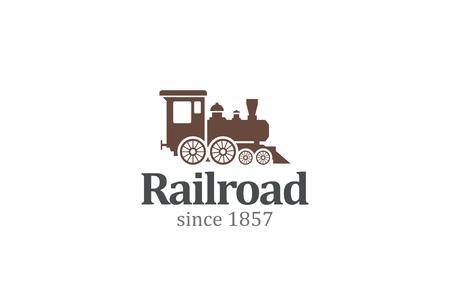 ferrocarril: Plantilla de la vendimia Diseño de logotipo retro del vector del tren de ferrocarril de la locomotora. Icono concepto de viajes de tren de logo.