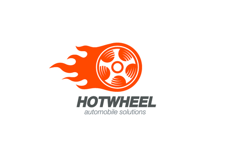 tire: Wheel in Fire flame Logo design vector template. Car Logotype.  Concept icon for race, auto repair service, tire shop.