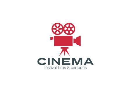 film shooting: Vintage Camera Logo design vector template. Retro Cinema Logotype.  Film, Video, Motion design studio, Film Producer, Shooting studio emblem icon.