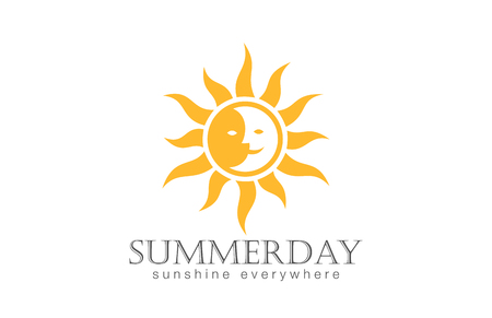 Sun Logo design vector template.  Day Night Sun Moon Logotype concept icon.