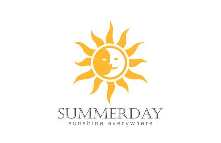 sole: Sun Logo modello di disegno vettoriale. Giorno Notte Sun Moon Logotype concetto icona. Vettoriali