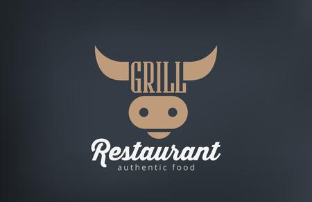 로고 쇠고기 그릴 BBQ 레스토랑 바 디자인 벡터 템플릿입니다. 바베큐 로고 암소 머리 아이콘 실루엣 개념입니다.