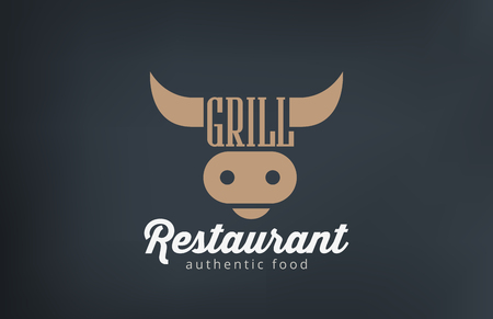 Logo Beef Grill BBQ restaurant bar design vector template.  Barbecue Logotype Cow Head icon silhouette concept. Illustration