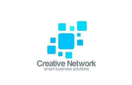 Social Network Logo abstract design vector template. Square interface Logotype concept icon Vectores